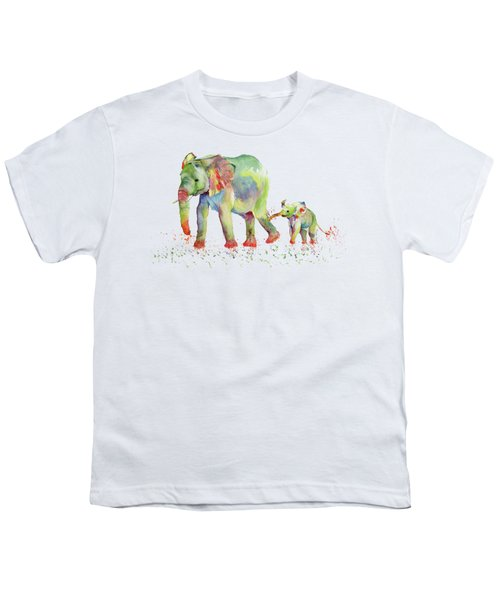 Elephant Family Watercolor  Youth T-Shirt by Melly Terpening