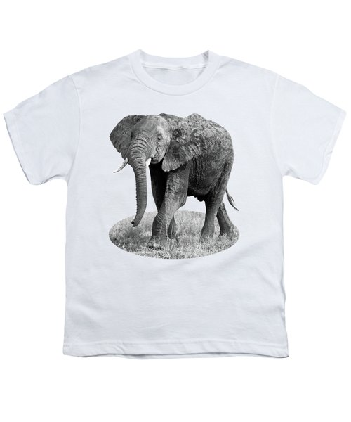 Elephant Happy And Free In Black And White Youth T-Shirt by Gill Billington