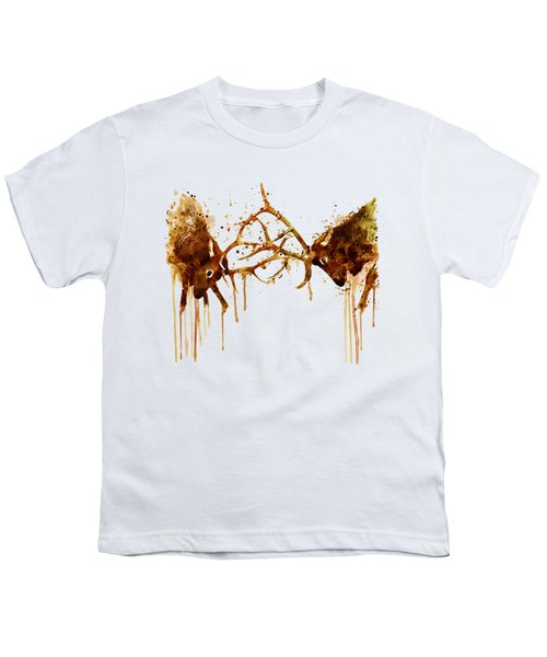 Elks Fight Youth T-Shirt by Marian Voicu