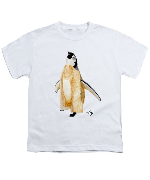 Emperor Penguin Chick Youth T-Shirt by Angeles M Pomata