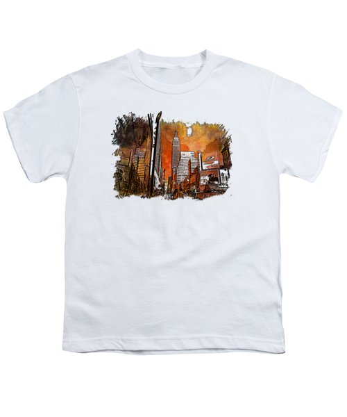 Empire State Reflections Earthy Rainbow 3 Dimensional Youth T-Shirt by Di Designs