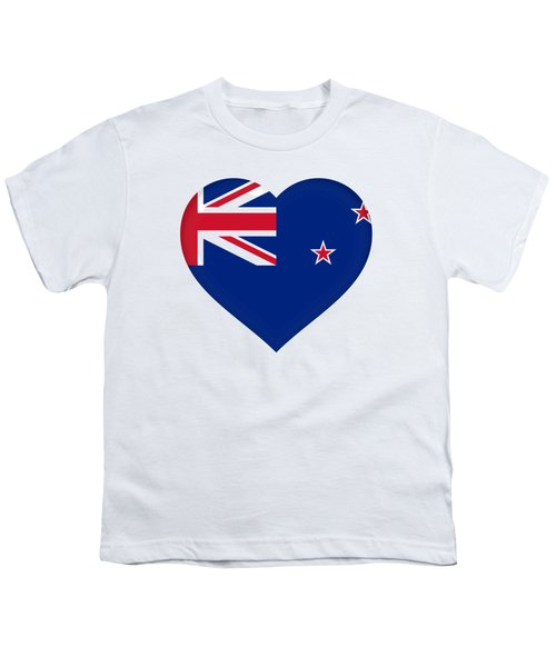 Flag Of New Zealand Heart Youth T-Shirt by Roy Pedersen