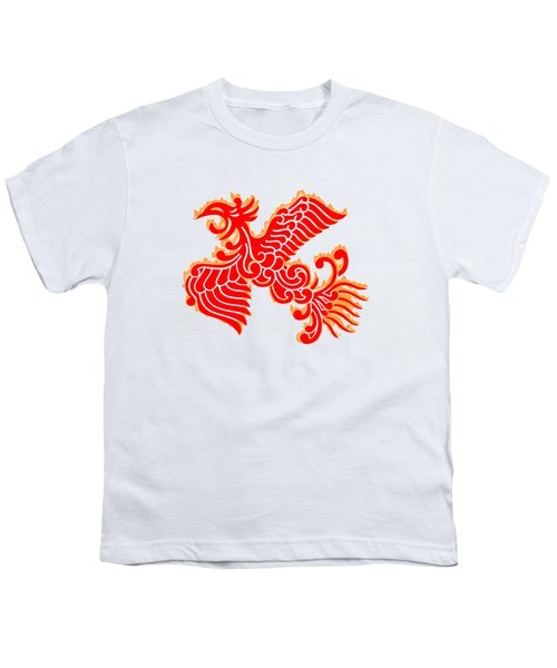 Flaming Red Phoenix Rising Youth T-Shirt by Nathan Beardsley