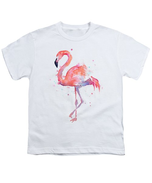 Flamingo Love Watercolor Youth T-Shirt by Olga Shvartsur