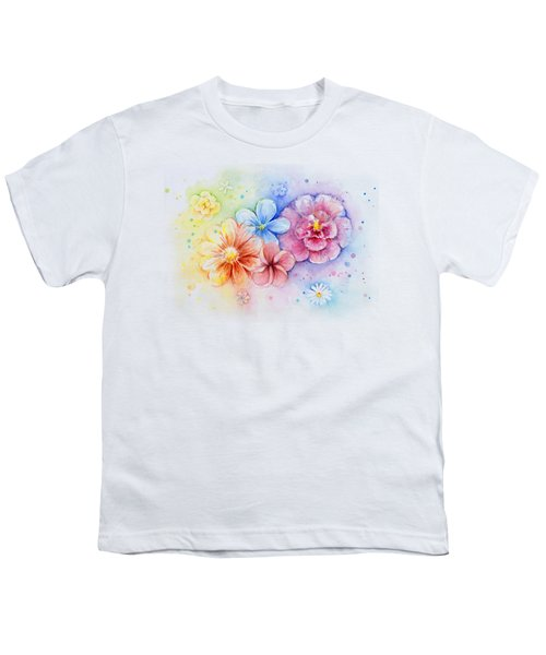 Flower Power Watercolor Youth T-Shirt by Olga Shvartsur
