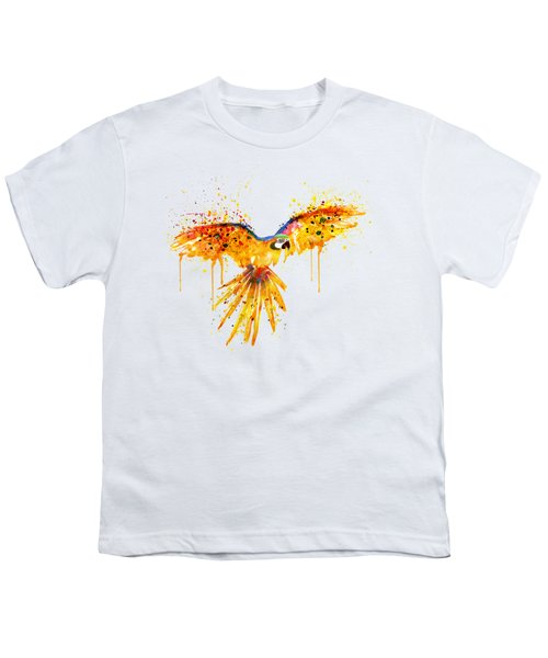 Flying Parrot Watercolor Youth T-Shirt by Marian Voicu