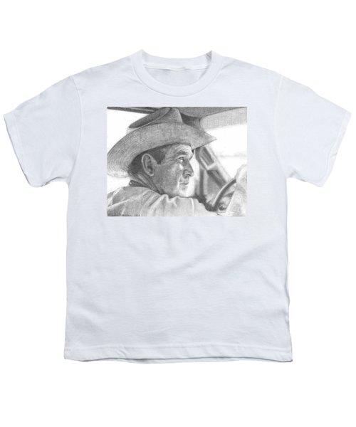 Former Pres. George W. Bush Wearing A Cowboy Hat Youth T-Shirt by Michelle Flanagan