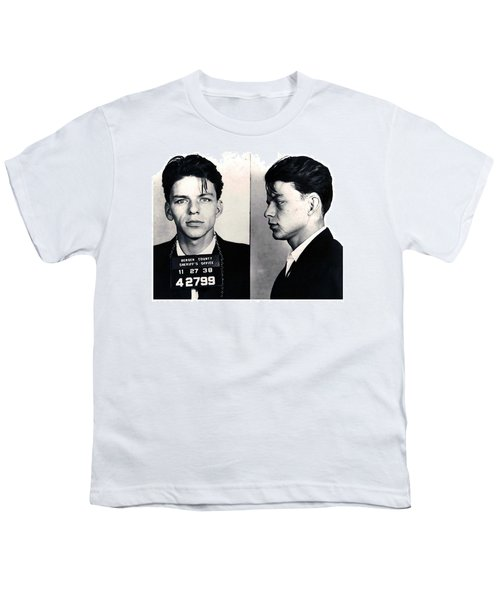 Frank Sinatra Mug Shot Horizontal Youth T-Shirt by Tony Rubino
