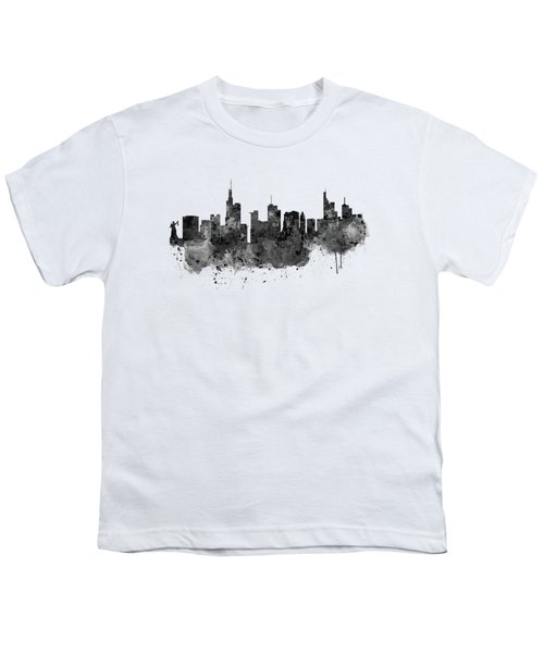Frankfurt Black And White Skyline Youth T-Shirt by Marian Voicu
