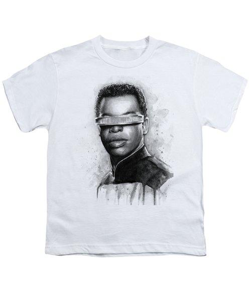 Geordi La Forge - Star Trek Art Youth T-Shirt by Olga Shvartsur