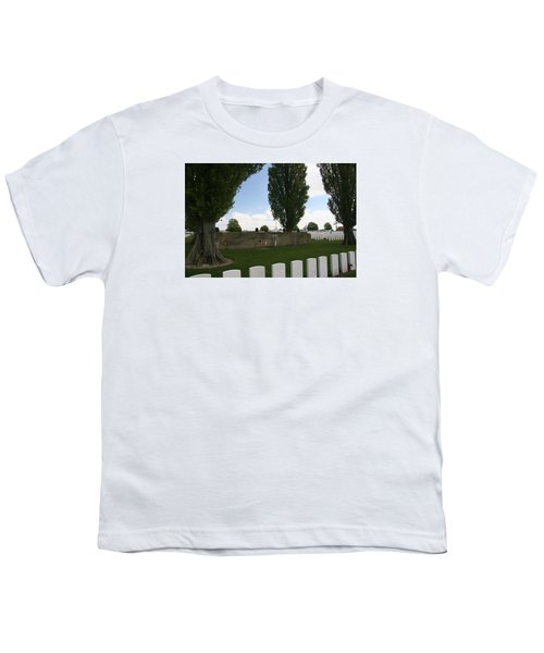 Youth T-Shirt featuring the photograph German Bunker At Tyne Cot Cemetery by Travel Pics
