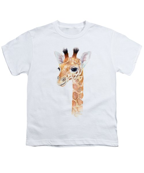 Giraffe Watercolor Youth T-Shirt by Olga Shvartsur