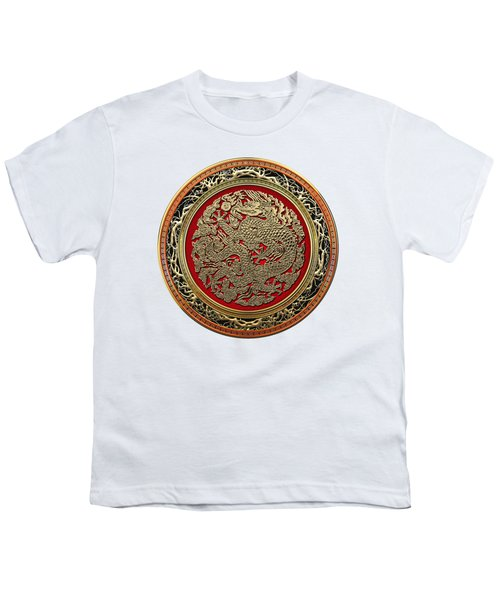 Golden Chinese Dragon White Leather  Youth T-Shirt by Serge Averbukh