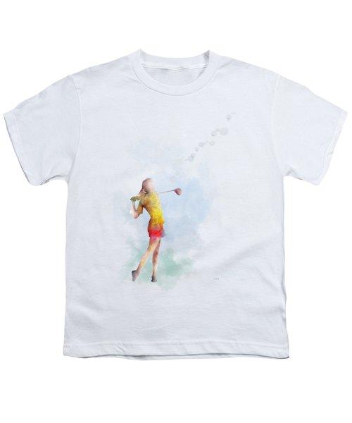 Golfer Youth T-Shirt by Marlene Watson