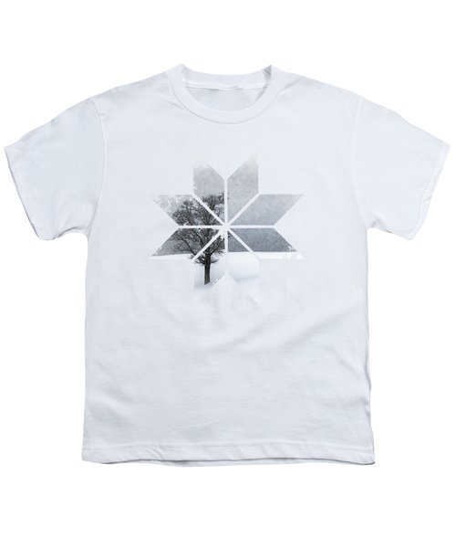Graphic Art Snowflake Lonely Tree Youth T-Shirt by Melanie Viola