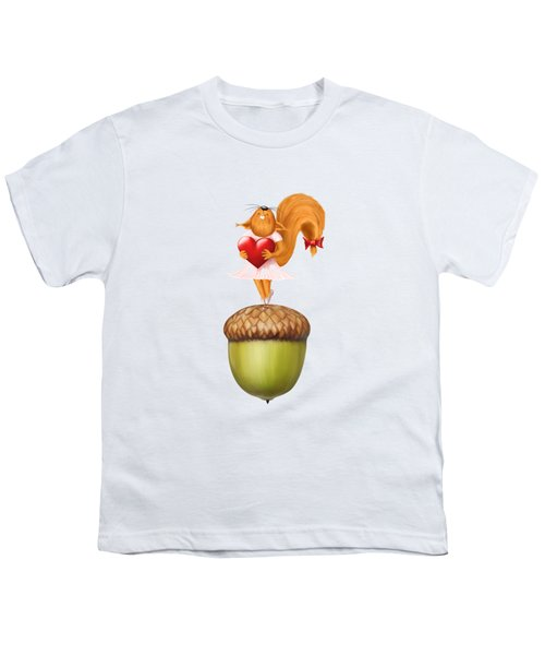 Happy Squirrel With Heart Standing On Acorn Illustration Youth T-Shirt by Awen Fine Art Prints