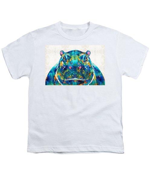 Hippopotamus Art - Happy Hippo - By Sharon Cummings Youth T-Shirt by Sharon Cummings