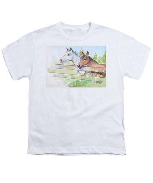 Horses Watercolor Sketch Youth T-Shirt by Olga Shvartsur