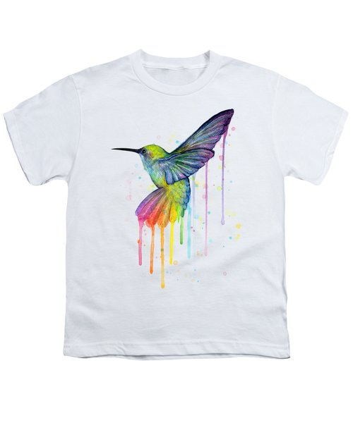 Hummingbird Of Watercolor Rainbow Youth T-Shirt by Olga Shvartsur