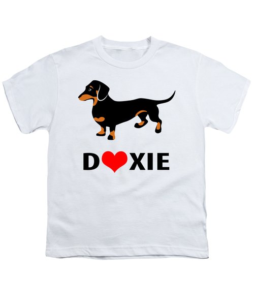 I Love My Doxie Youth T-Shirt by Antique Images