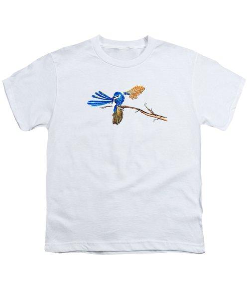 Inked Blue Fairy Wren Youth T-Shirt by Lorraine Kelly