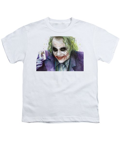 Joker Watercolor Portrait Youth T-Shirt by Olga Shvartsur