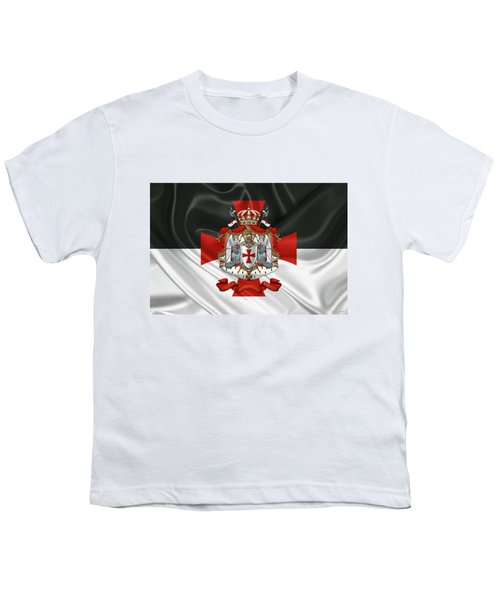Knights Templar - Coat Of Arms Over Flag Youth T-Shirt by Serge Averbukh