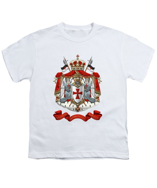 Knights Templar - Coat Of Arms Over White Leather Youth T-Shirt by Serge Averbukh