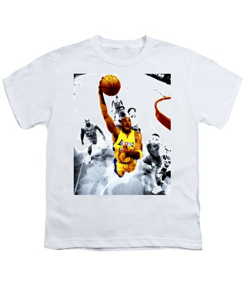 Kobe Bryant Took Flight Youth T-Shirt by Brian Reaves