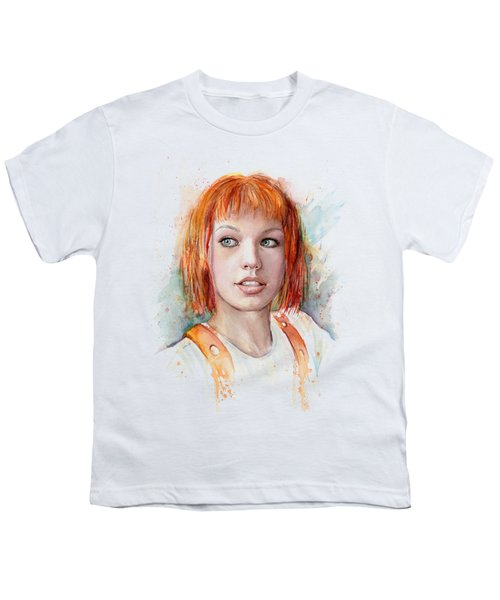 Leeloo Portrait Multipass The Fifth Element Youth T-Shirt by Olga Shvartsur