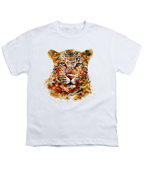 Leopard Head Watercolor Youth T-Shirt by Marian Voicu
