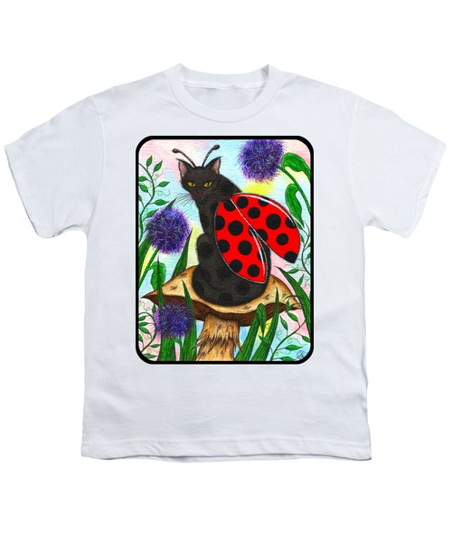 Logan Ladybug Fairy Cat Youth T-Shirt by Carrie Hawks