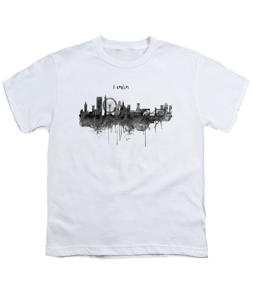London Black And White Skyline Watercolor Youth T-Shirt by Marian Voicu