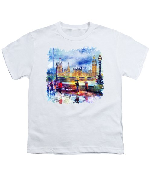 London Rain Watercolor Youth T-Shirt by Marian Voicu