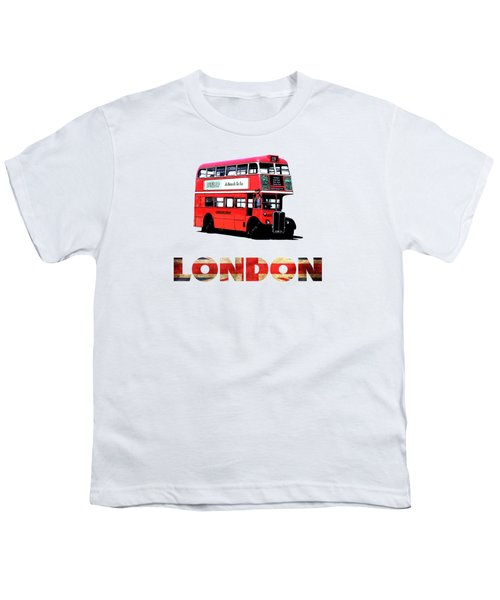 London Red Double Decker Bus Tee Youth T-Shirt by Edward Fielding
