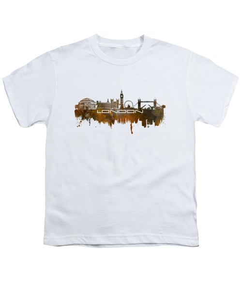 London Skyline City Brown Youth T-Shirt by Justyna JBJart