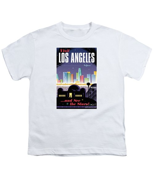 Los Angeles Retro Travel Poster Youth T-Shirt by Jim Zahniser