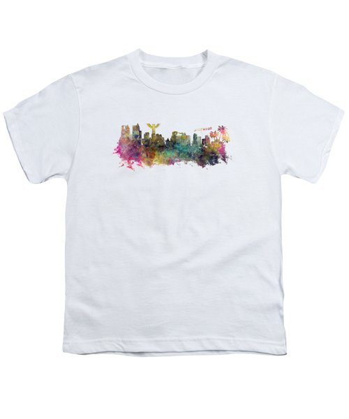 Los Angeles Skyline Youth T-Shirt by Justyna JBJart