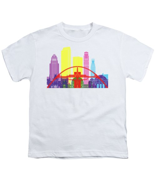 Los Angeles Skyline Pop Youth T-Shirt by Pablo Romero