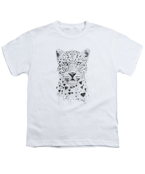 Lovely Leopard Youth T-Shirt by Balazs Solti
