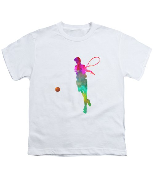 Man Tennis Player 01 In Watercolor Youth T-Shirt by Pablo Romero