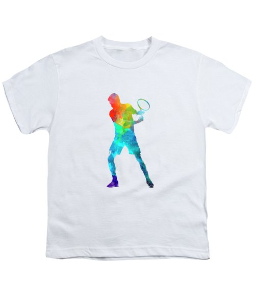 Man Tennis Player 02 In Watercolor Youth T-Shirt by Pablo Romero