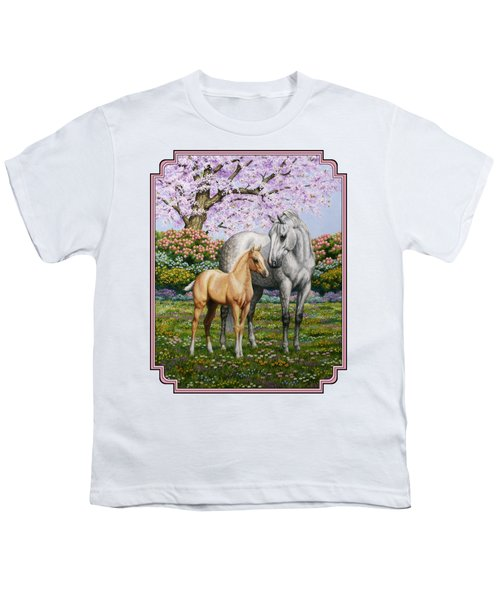 Mare And Foal Pillow Pink Youth T-Shirt by Crista Forest