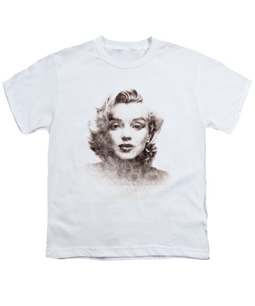 Marilyn Monroe Portrait 04 Youth T-Shirt by Pablo Romero