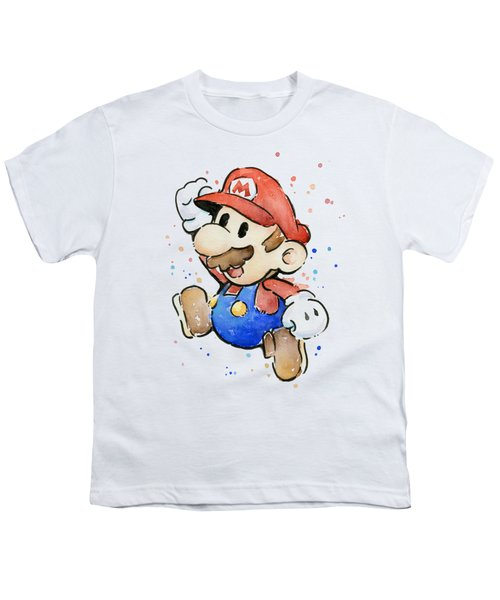 Mario Watercolor Fan Art Youth T-Shirt by Olga Shvartsur