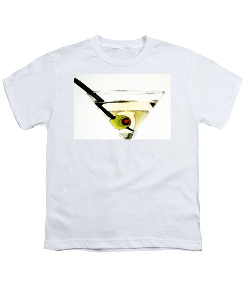 Martini With Green Olive Youth T-Shirt by Sharon Cummings