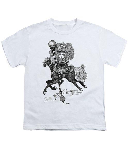 Merry-go-round Girl Youth T-Shirt by Akiko Okabe