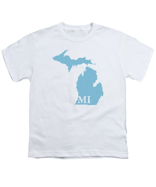 Michigan State Map With Text Of Constitution Youth T-Shirt by Design Turnpike