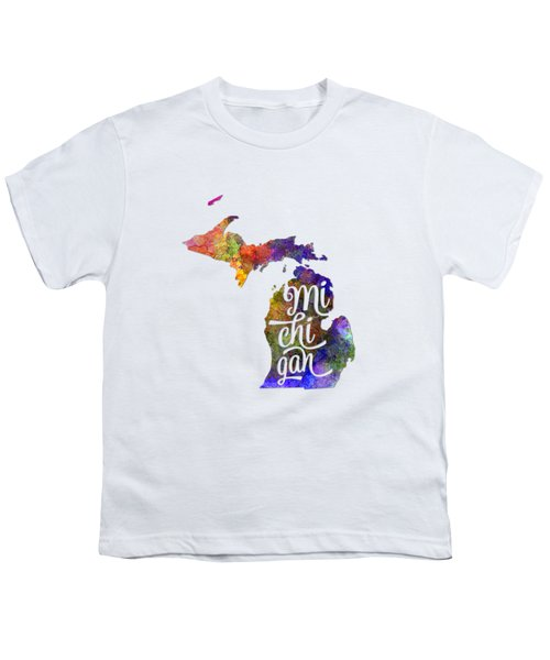 Michigan Us State In Watercolor Text Cut Out Youth T-Shirt by Pablo Romero