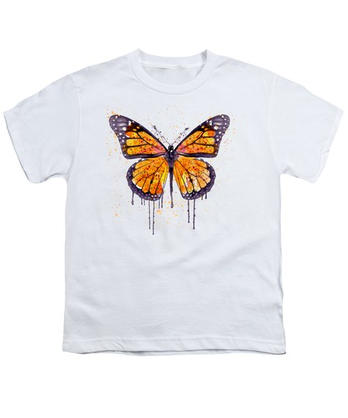 Monarch Butterfly Watercolor Youth T-Shirt by Marian Voicu